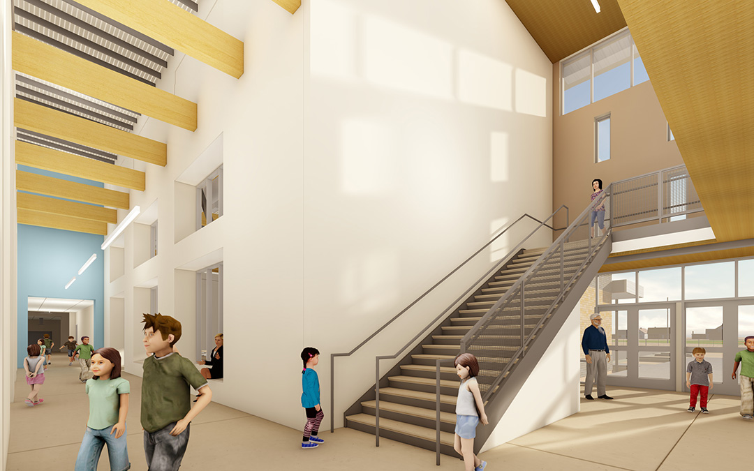 Visualization, Del Norte Elementary School Lobby and Stairwell